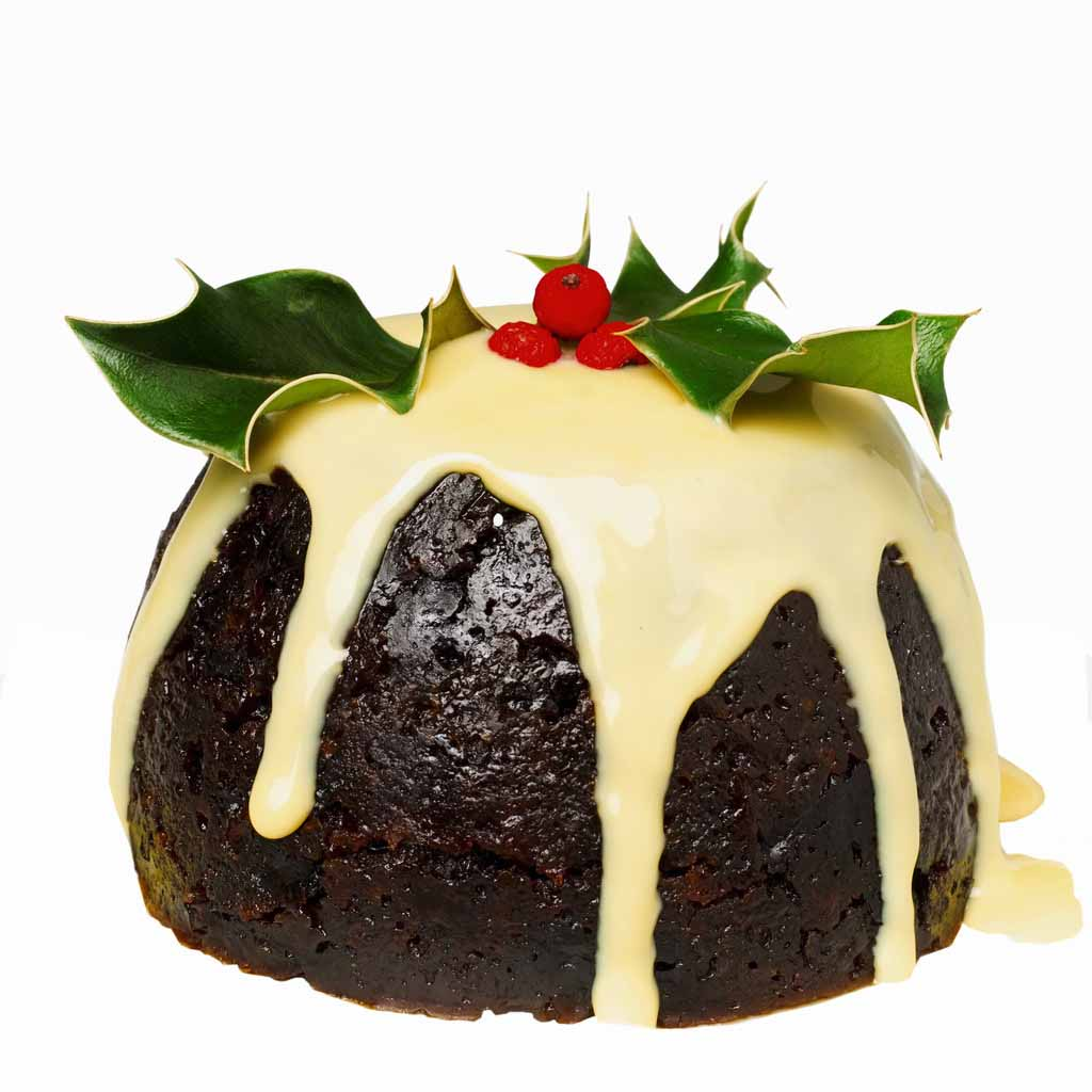 A lovely centered picture of a Christmas pudding.