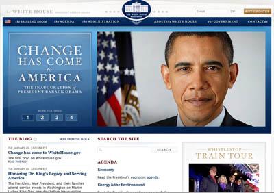 screenshot of whitehouse.gov immediately after president obama's inauguration
